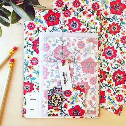 レターセット(flowers-red)の商品写真