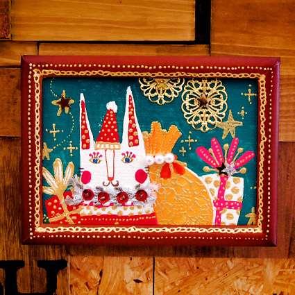 【送料無料】miniアート(猫うさぎのクリスマス)の商品写真