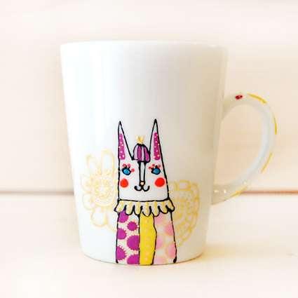 マグカップ(猫yellow+purple)の商品写真